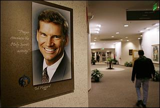 A portrait of Ted Haggard hanging in New Life Church